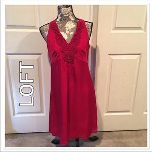 Loft Red Rosette Silk Dress